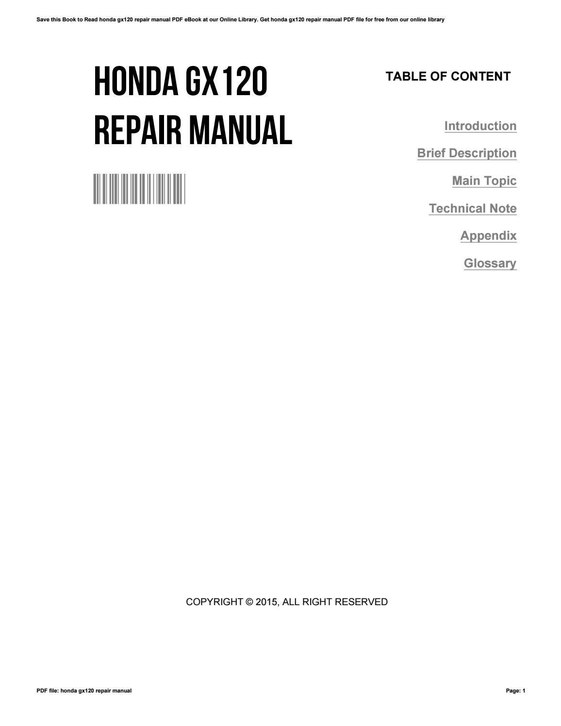 honda gx120 manual