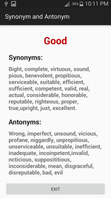 glossary synonym