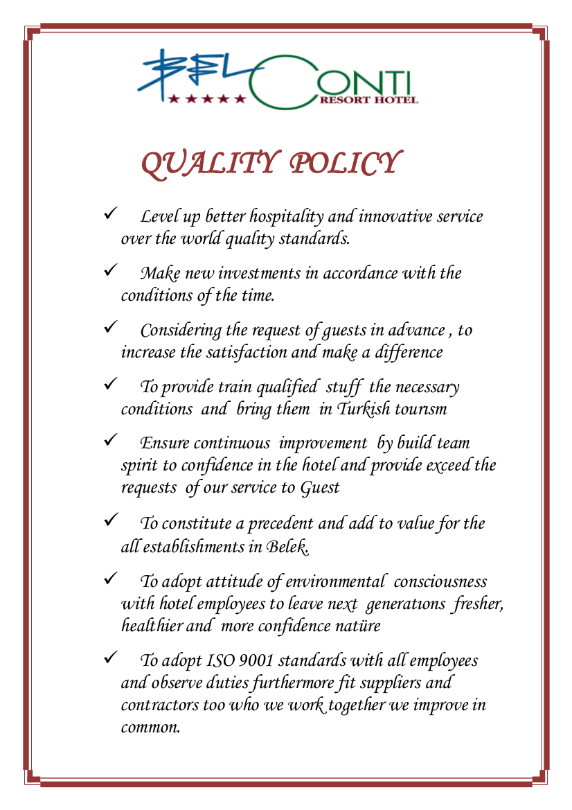 hotel policy sample
