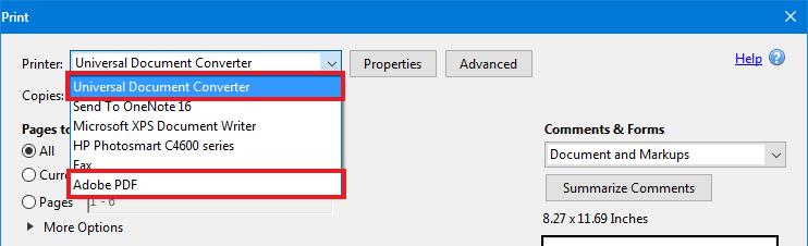 how do i print on a a pdf file