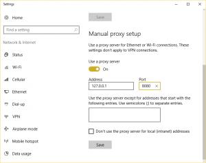 manual proxy setup