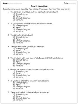 growth mindset survey for students pdf