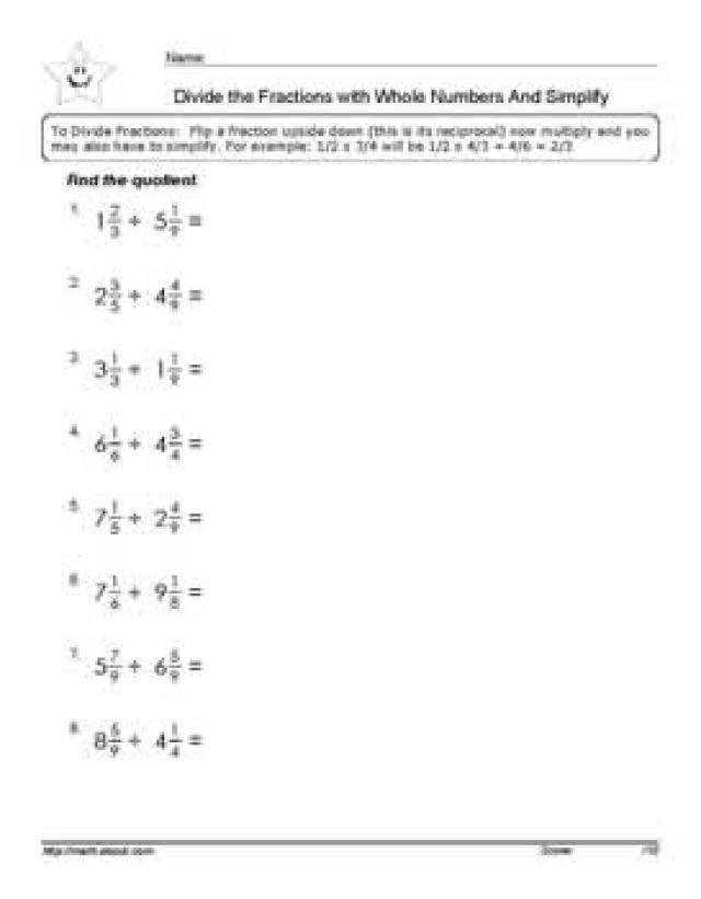 fractions worksheets grade 7 pdf