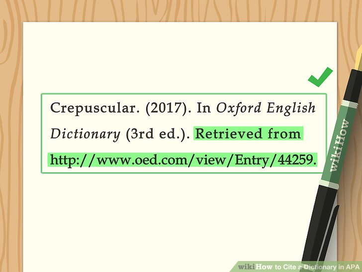 how to apa reference a dictionary