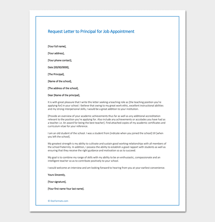 how to request in an application letter for a job