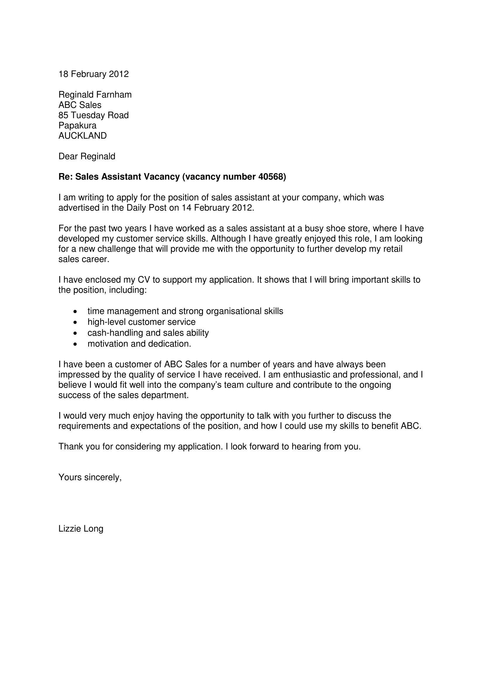 job application cover letter nz