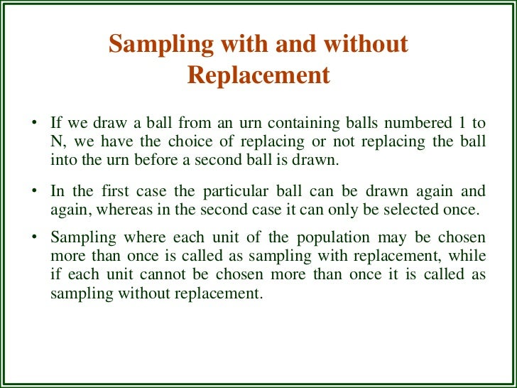 equal probability sample without replacement