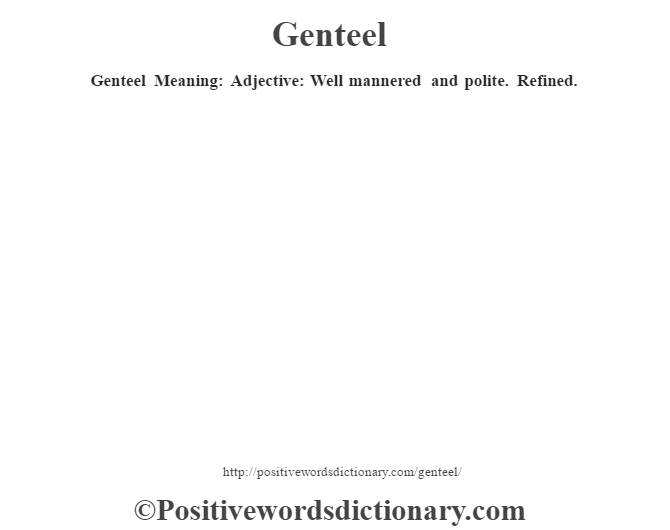 genteel definition dictionary