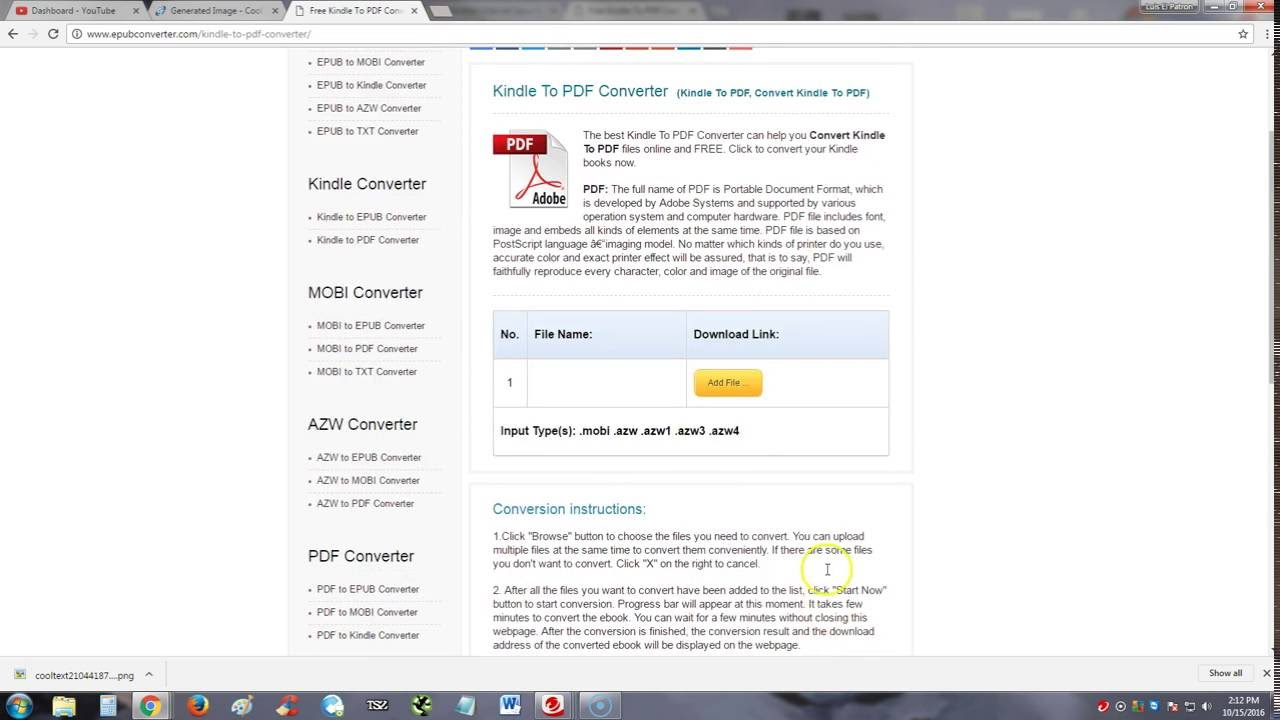 how to convert kindle file to pdf