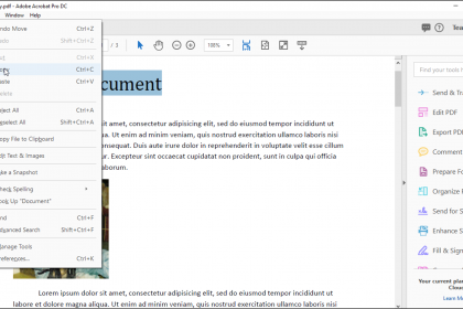 how to select and strikethrough text in adobe pro pdf