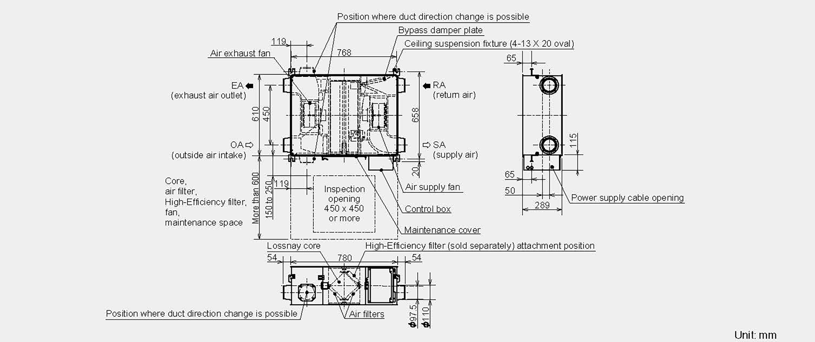 manual lossnay ventilation vl-100u5-e