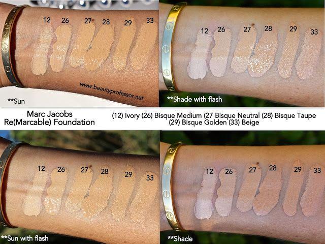 marc jacobs remarcable foundation colour guide